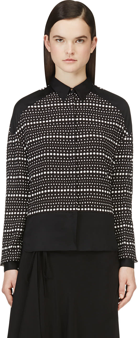 Image of Costume National Black and White Silk Dotted Blouse