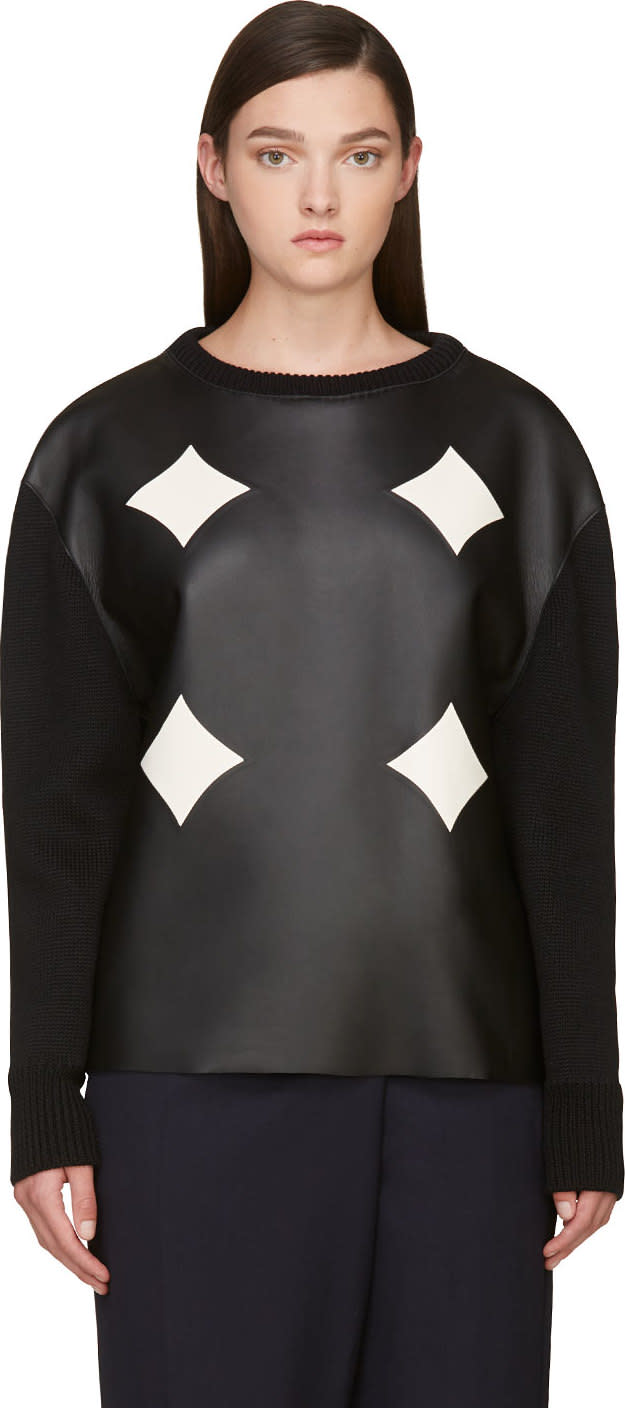 Image of Costume National Black Leather Panel Sweater