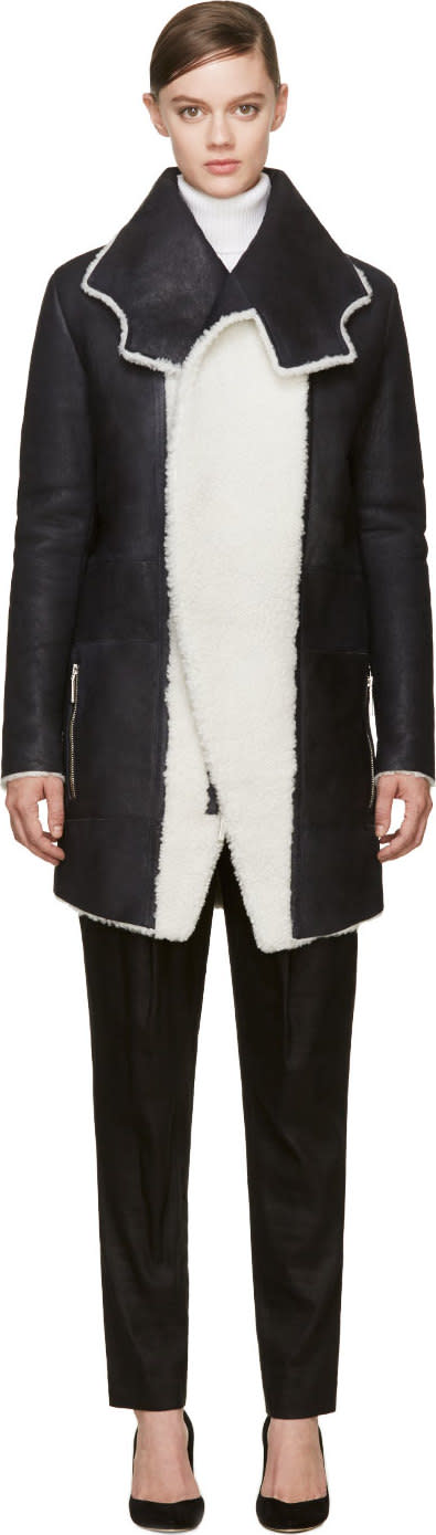 Anthony Vaccarello Black Shearling Irregular Collar Coat