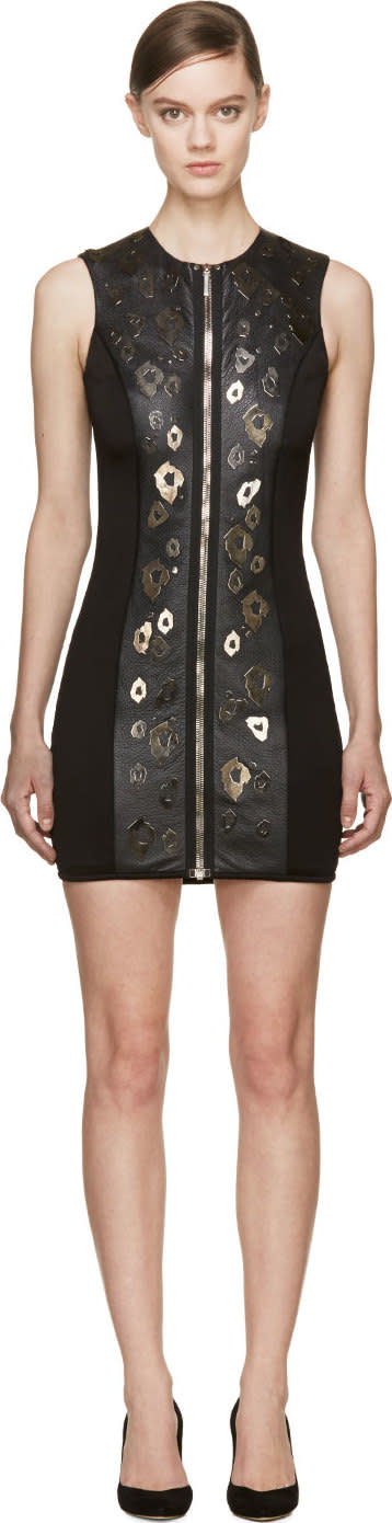 Anthony Vaccarello Black Leather Zip-front Biker Dress