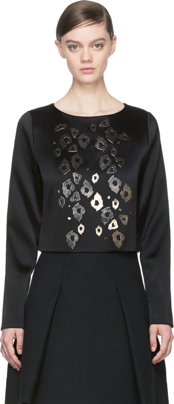 Anthony Vaccarello Black Leopard Applique Blouse