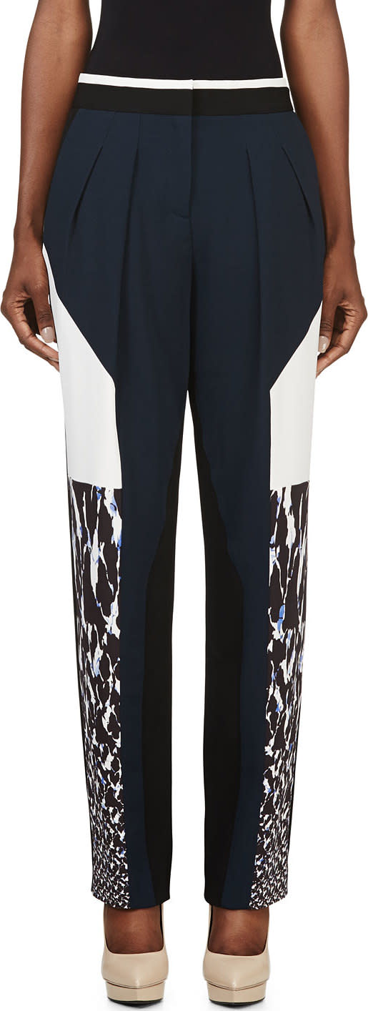 Peter Pilotto Navy and White Colorblocked Freja Trousers