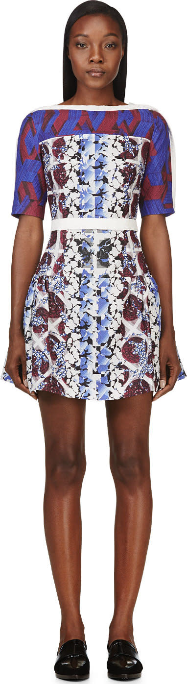Peter Pilotto Burgundy and Blue Silk Cloque Natalie Dress