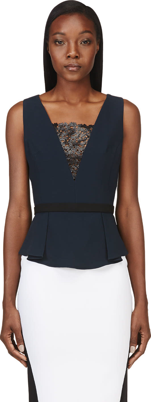 Peter Pilotto Navy Lace Panel Mila Top