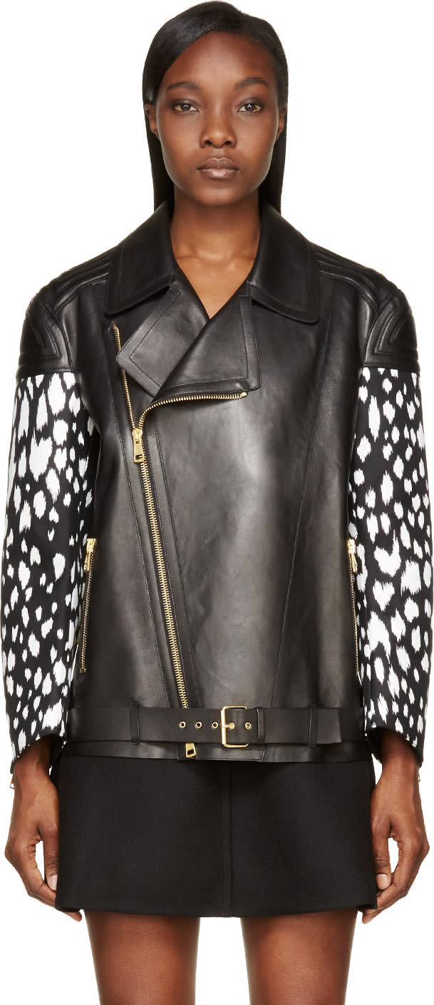 Fausto Puglisi Black Spot Print Leather Jacket