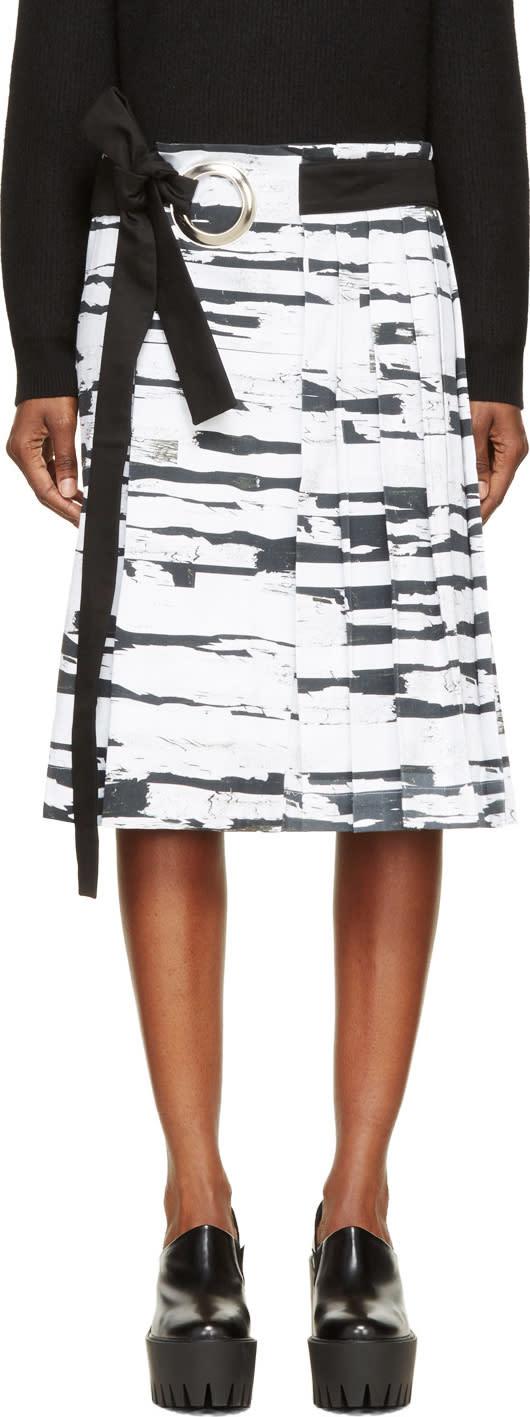 Anne Sofie Madsen White Tree Bark Print Pleated Skirt