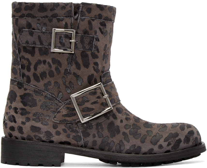 Jimmy Choo Grey Suede Leopard Youth Biker Boots