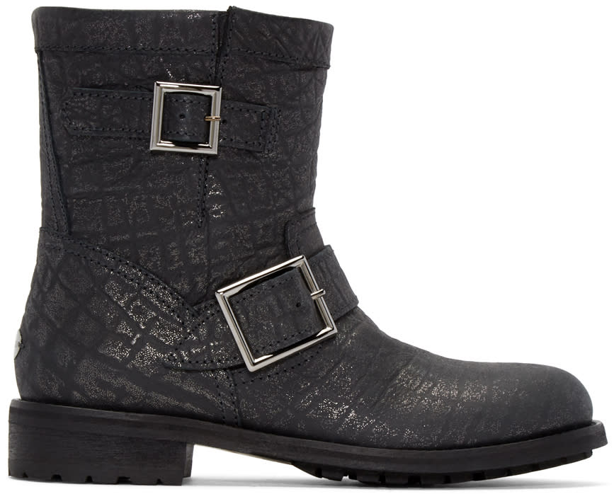 Jimmy Choo Black Youth Biker Boots