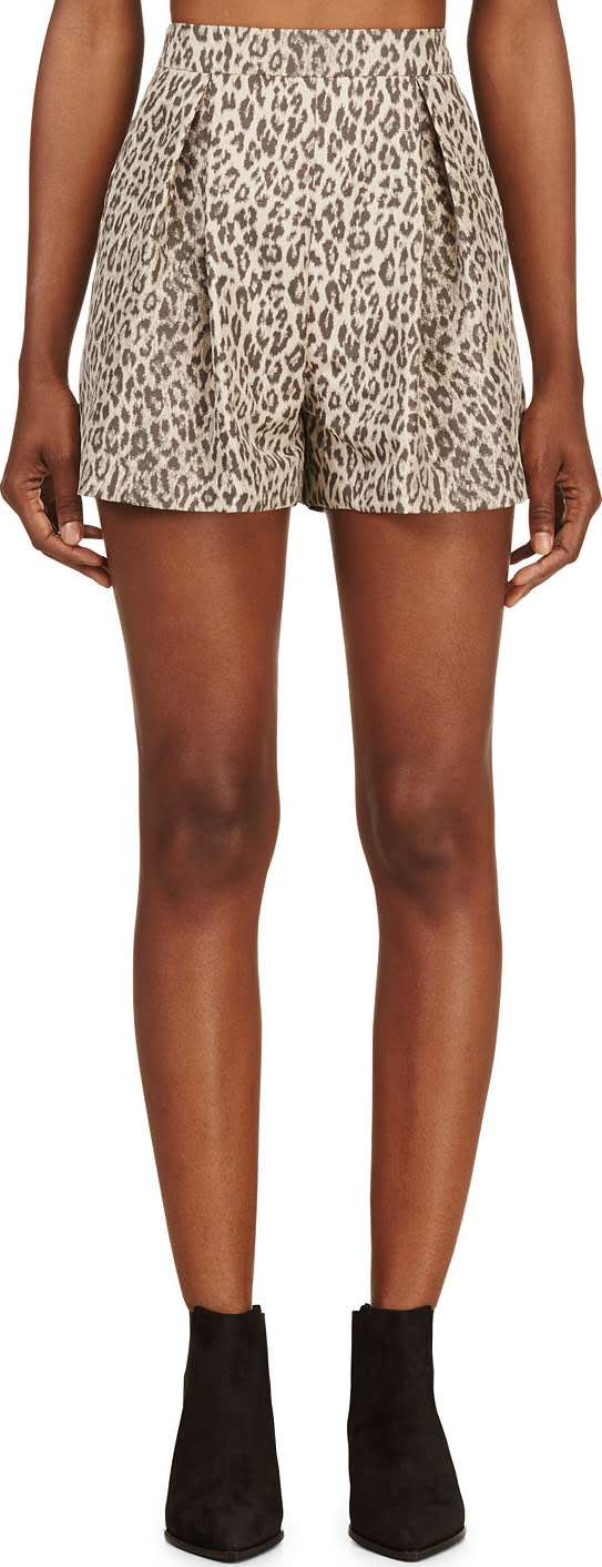 Giambattista Valli Beige Leopard Pleated Shorts