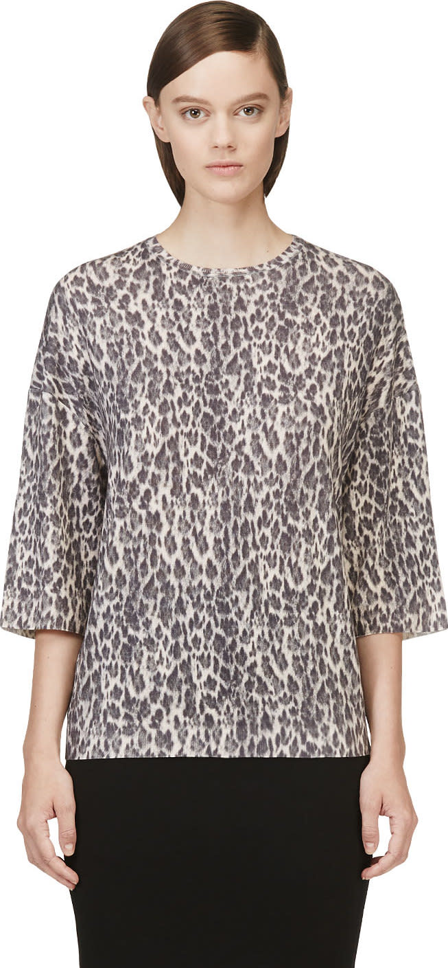 Giambattista Valli Black Leopard Cashmere Sweater