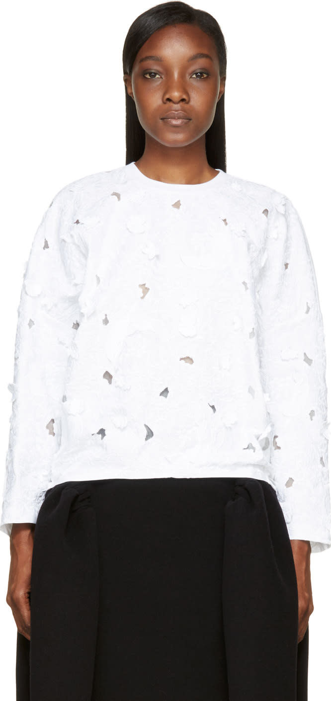 Giambattista Valli White Flower Cut-out and Embroidered Shirt