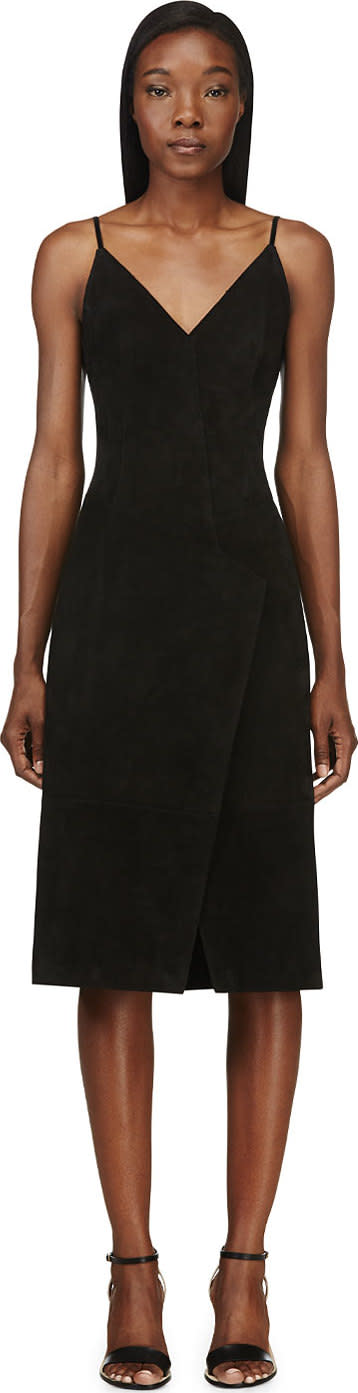Image of Maiyet Black Suede Pieced Slip Dress