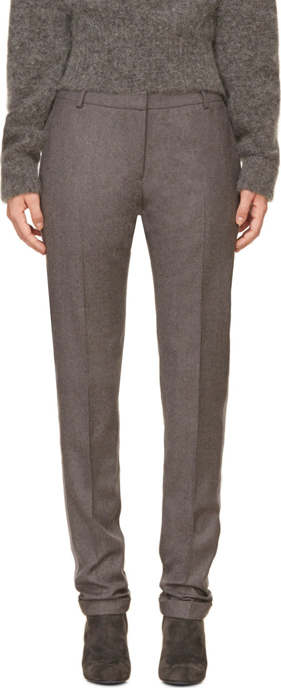 Image of Richard Nicoll Grey Grosgrain Trim Wool Trousers