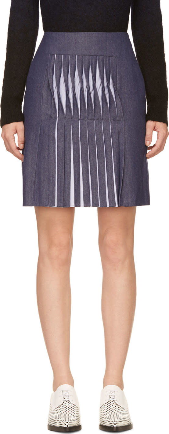 Richard Nicoll Blue Twill Twist Pleat Skirt