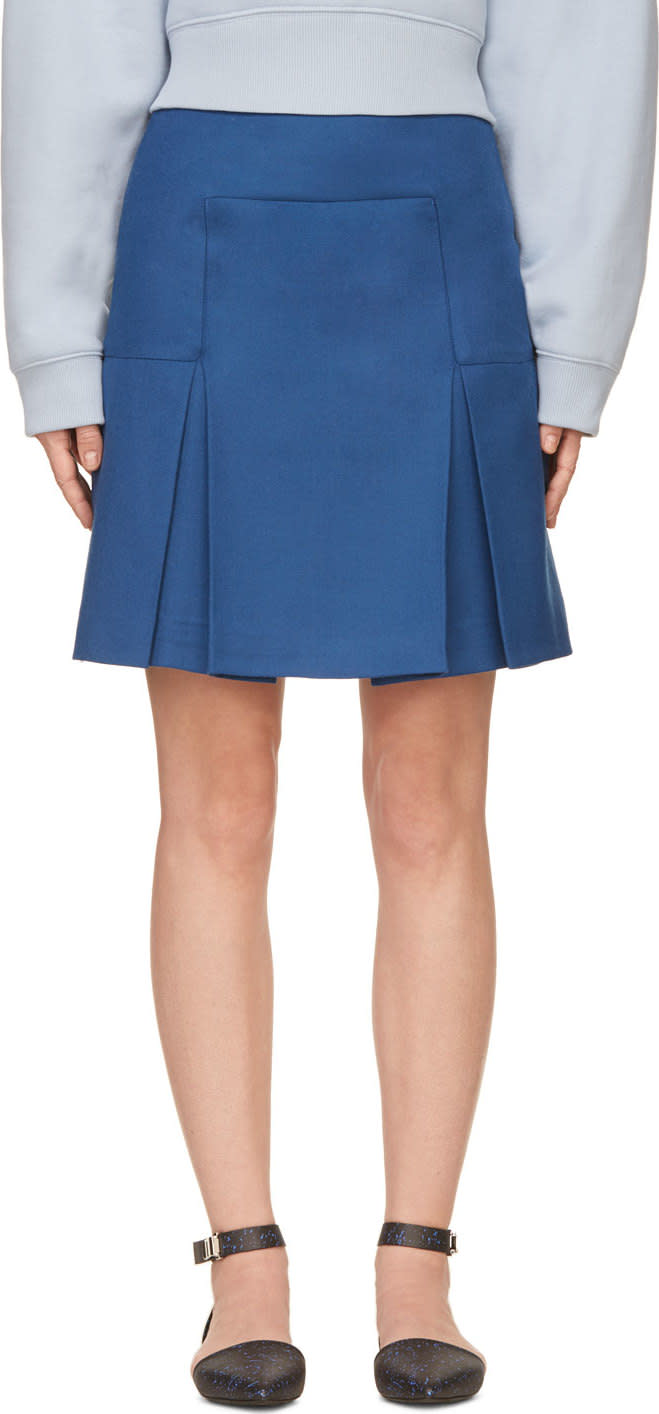 Image of Richard Nicoll Blue Box Pleat Mini Skirt