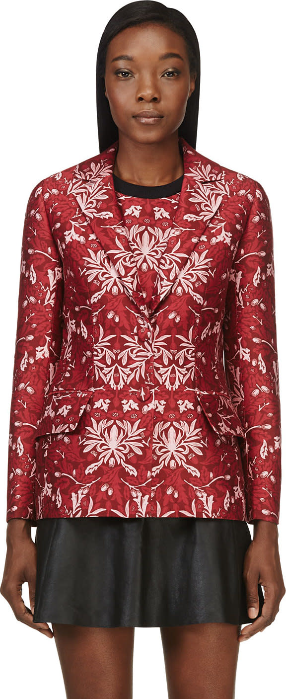 Image of Mother Of Pearl Red Cotton-silk Floral Nadia Blazer