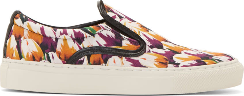 Image of Mother Of Pearl Magenta Tulip Print Achilles Slip-on Sneakers