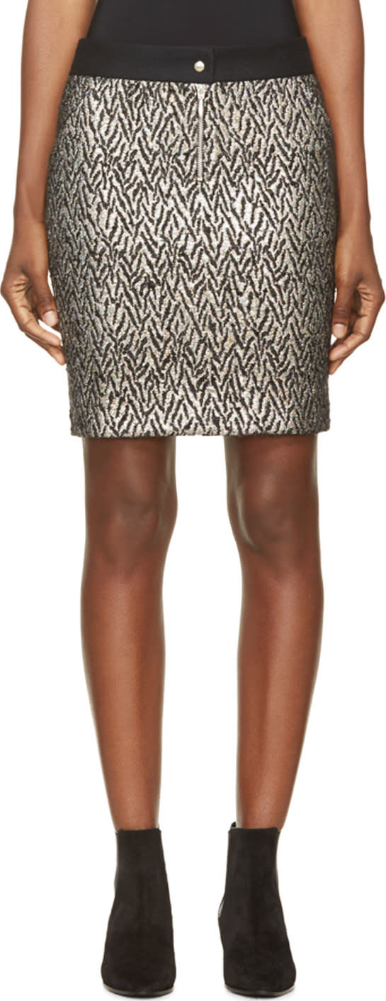 Roseanna Black and Silver Brocade Skirt