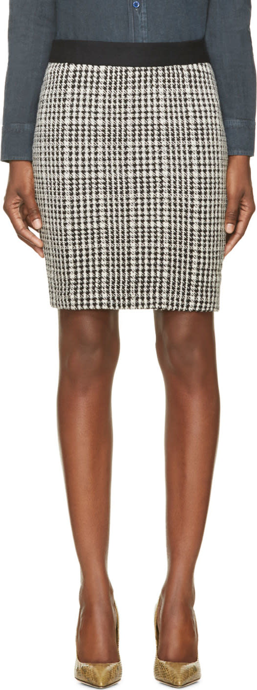 Image of Roseanna Black and White Houndstooth Buster Skirt