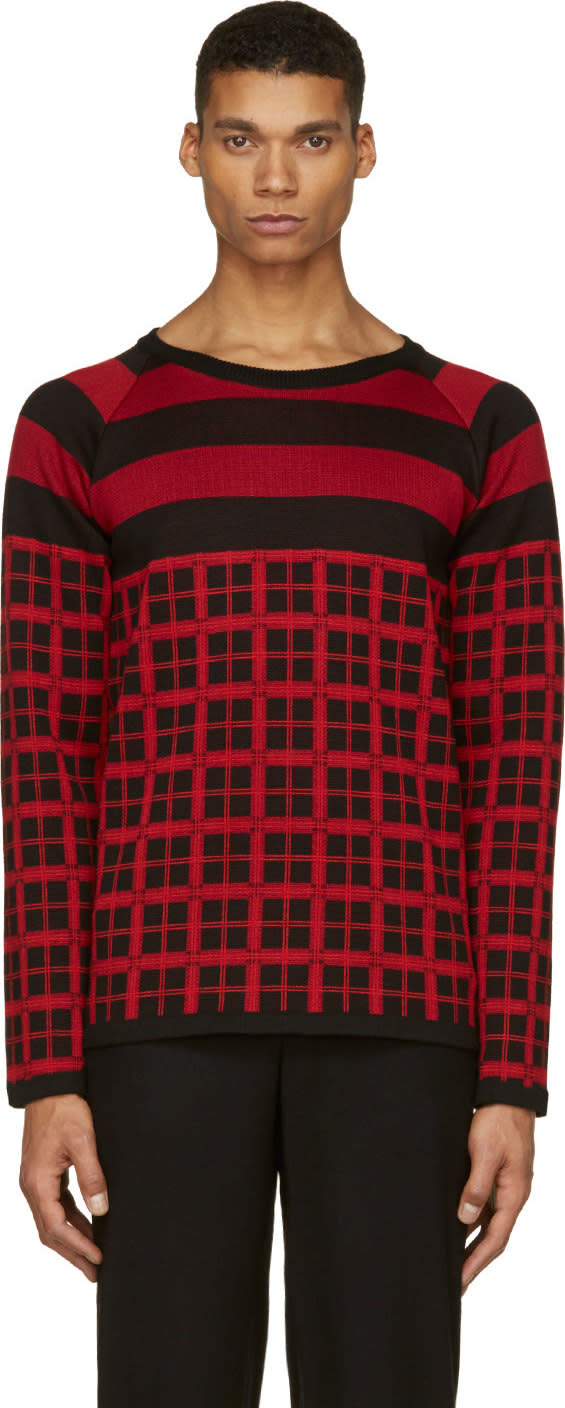 Image of Christian Dada Black and Red Check Knit Shirt