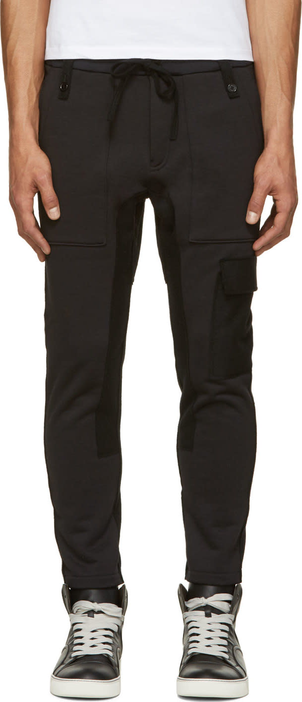 John Undercover Black Cargo Lounge Pants