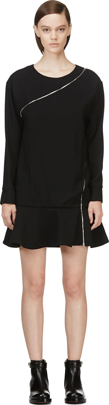 Image of Jay Ahr Black Zip-wrap Phenice Dress