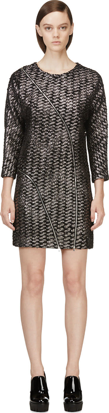 Image of Jay Ahr Black and Silver Metallic Tweed Dress