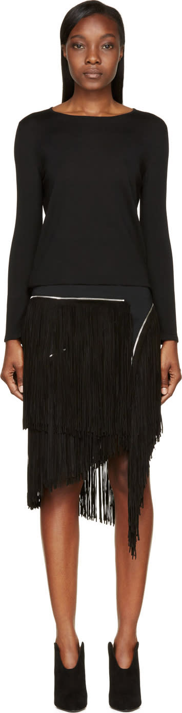 Image of Jay Ahr Black Zip Suede Fringe Sweater Dress