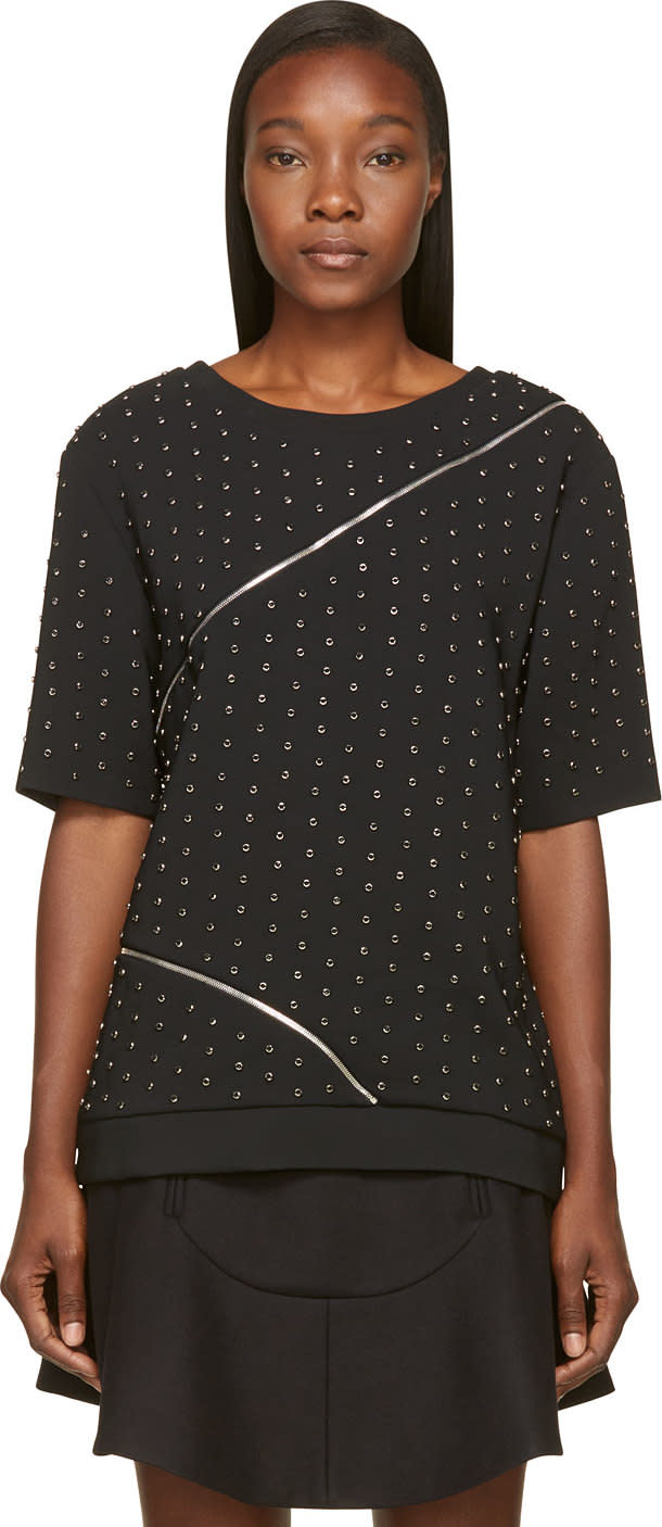 Image of Jay Ahr Black Studded and Zipped Phenice Top