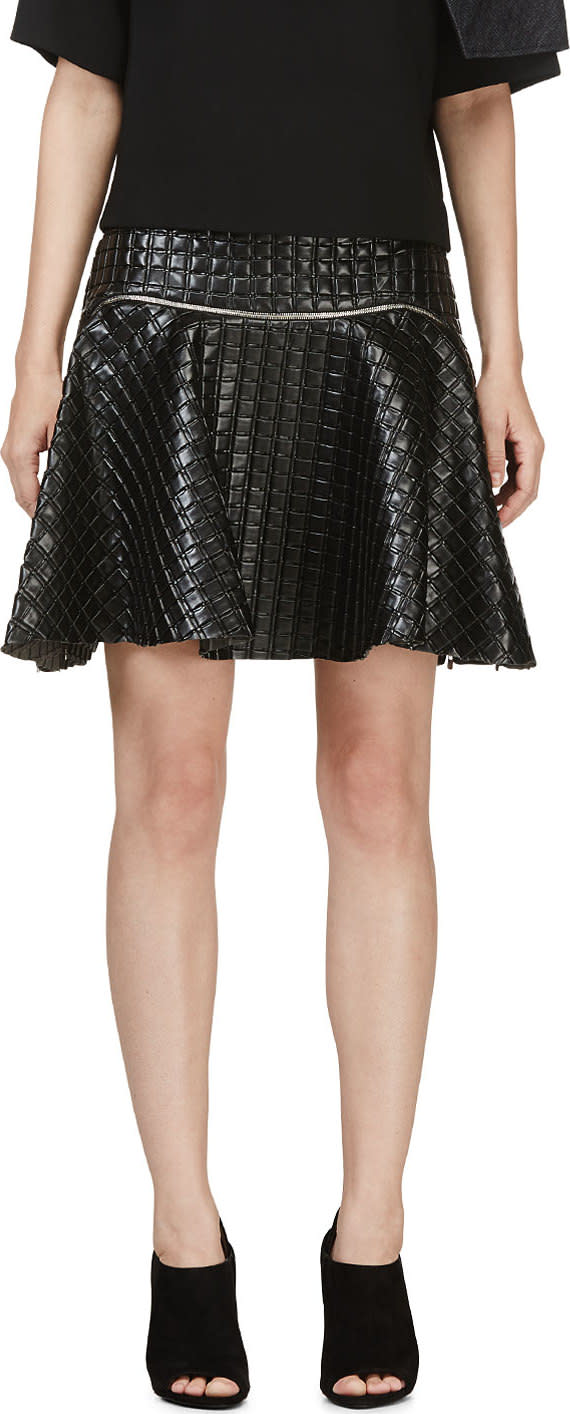 Jay Ahr Black Embossed Leather Circle Skirt