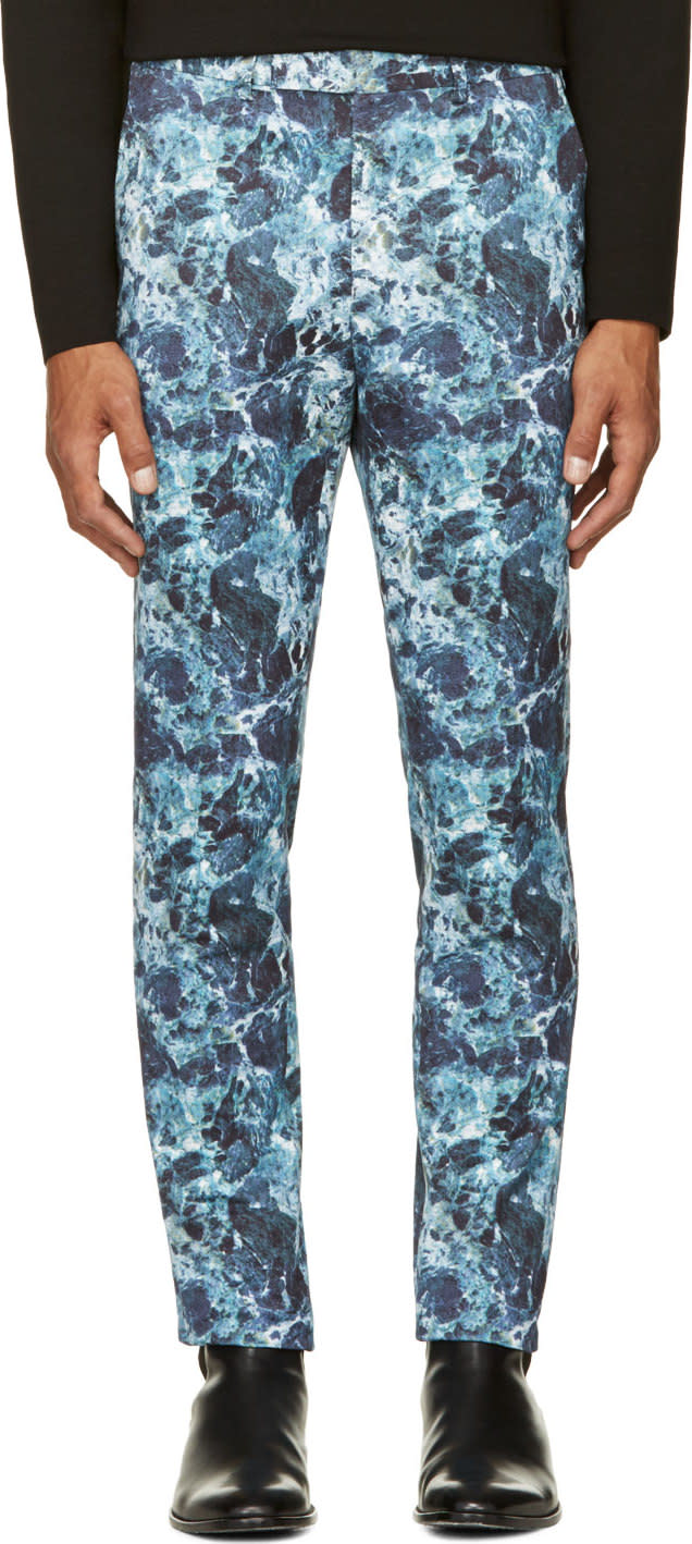 Johnlawrencesullivan Blue Marbled Trousers
