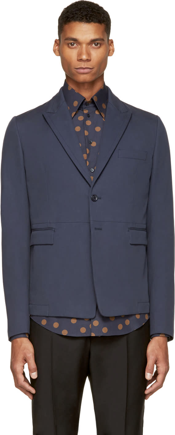 Dolce and Gabbana Blue Cotton Blazer