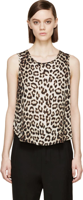 Rag and Bone Beige Leopard Silk Top