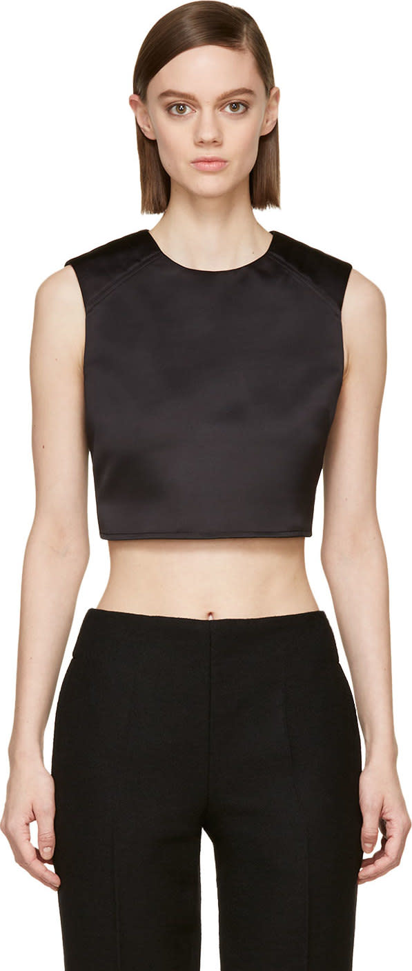 Mcq Alexander Mcqueen Black Satin Cropped Top
