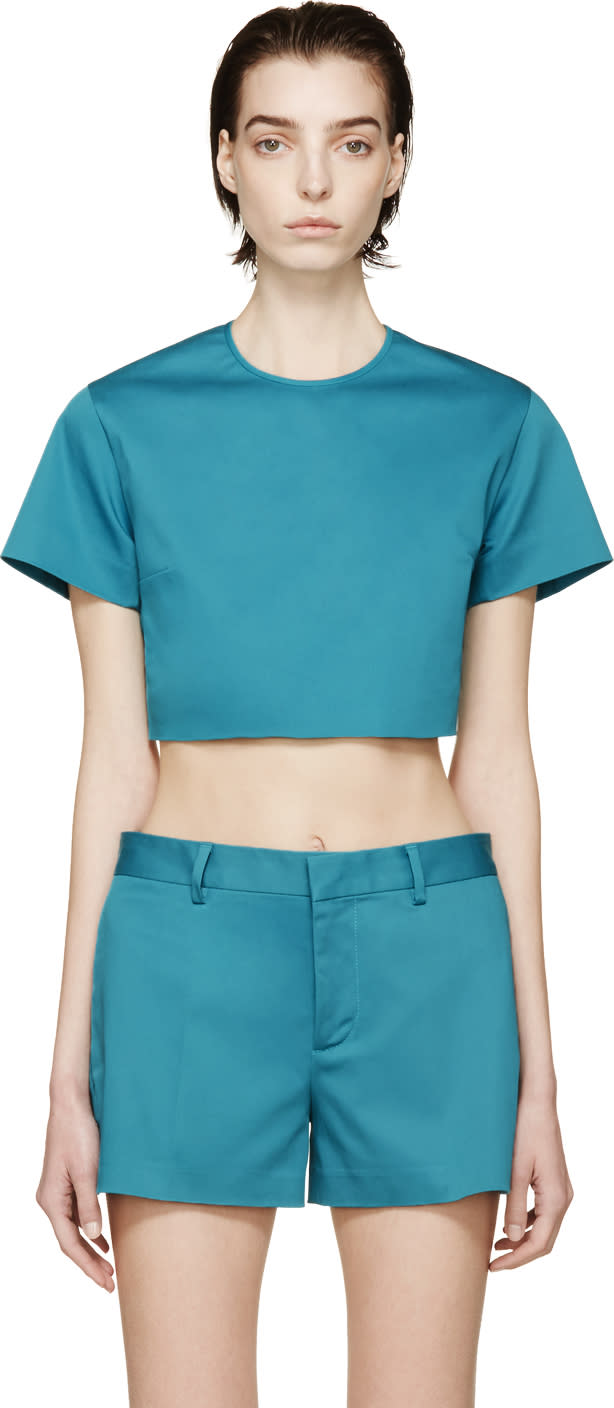 Dsquared2 Peacock Blue Twill Crop Top