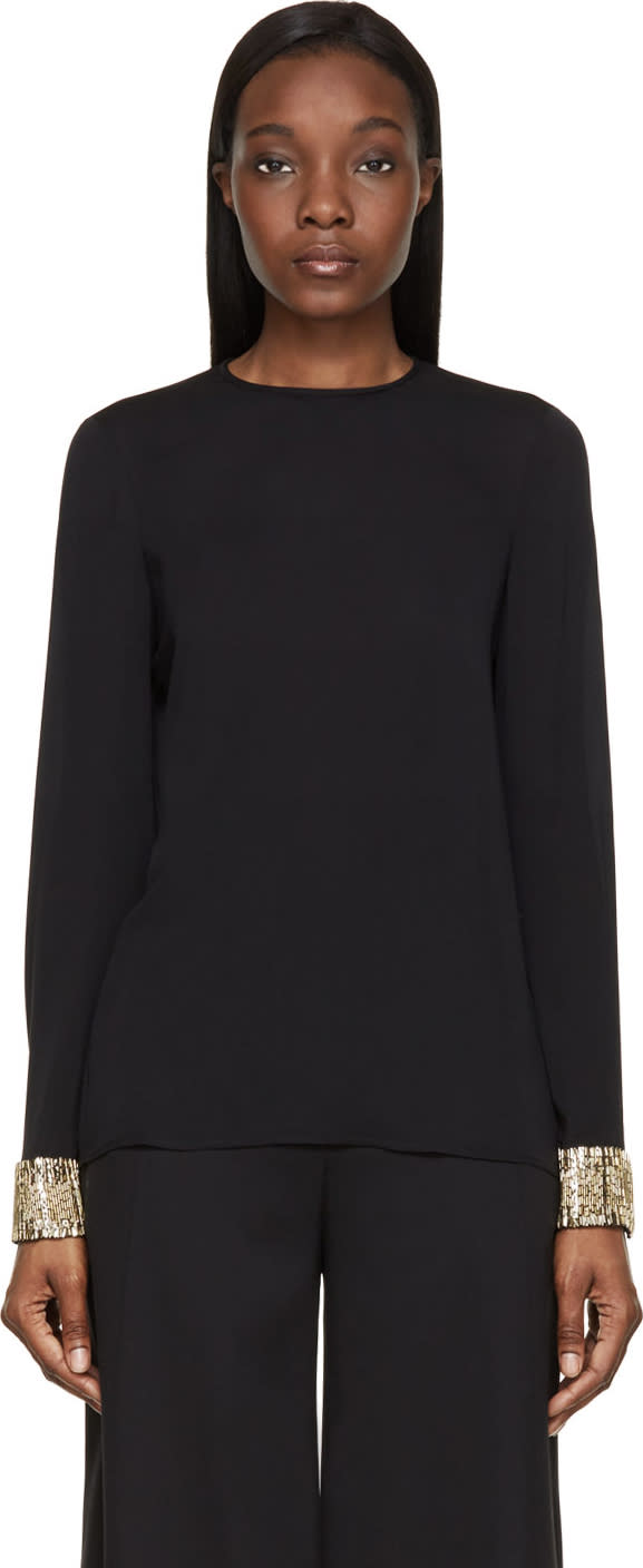 Dsquared2 Black Embellished Cuff Silk Blouse