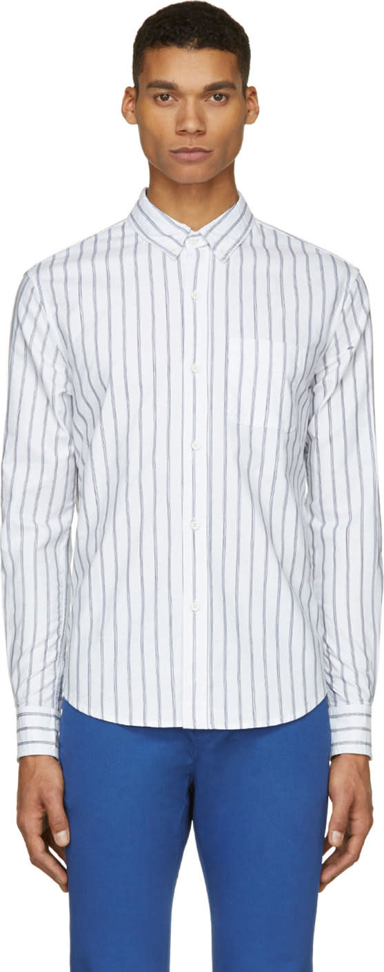 Band Of Outsiders White and Blue Pinstriped Logo Shirt