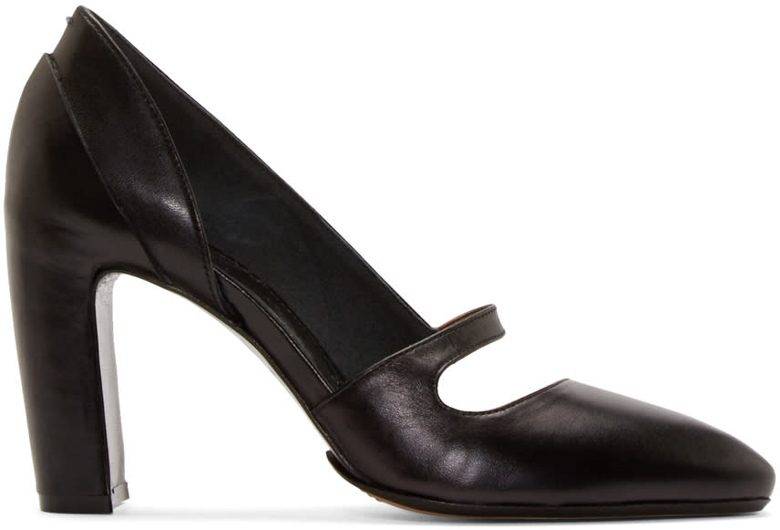 Maison Margiela Black Leather Court Shoes