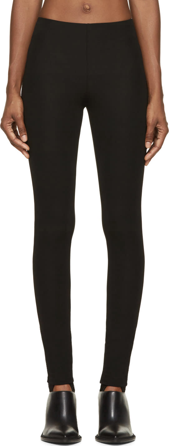 Maison Margiela Black Viscose Crêpe Jersey Stirrup Leggings