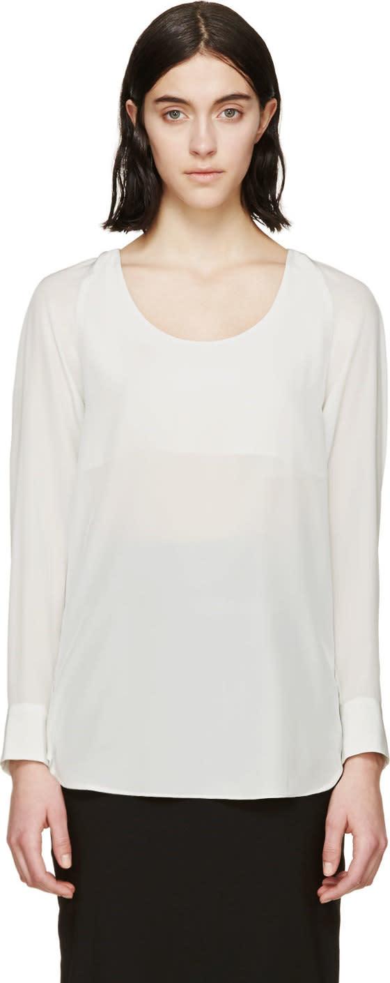 Maison Margiela Silver Silk Zip Blouse