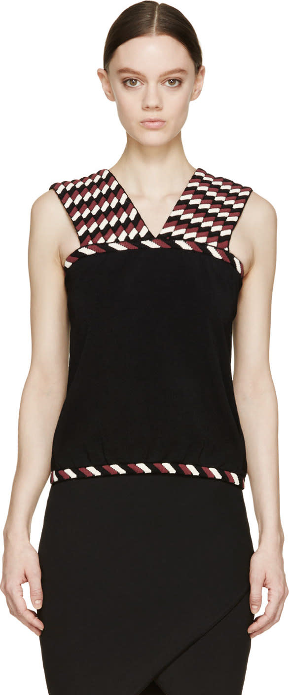 Image of Christopher Kane Black and Burgundy Rope Knit Top