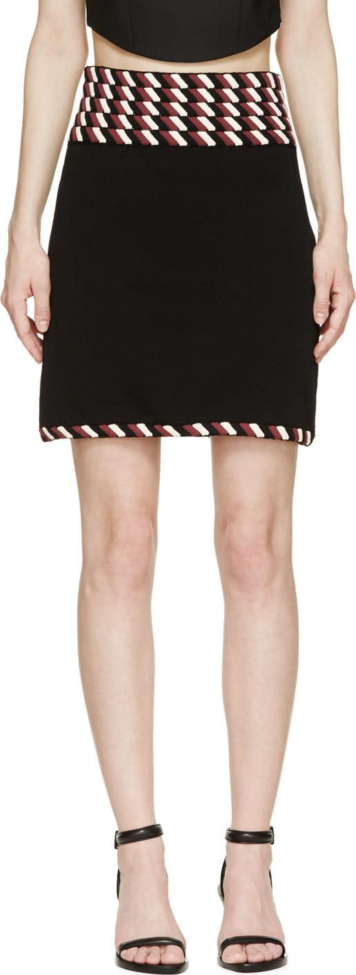 Christopher Kane Black Striped Rope Trim Skirt