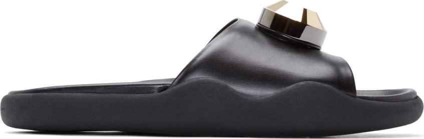 Christopher Kane Black Leather Gold Gem Pool Sandals