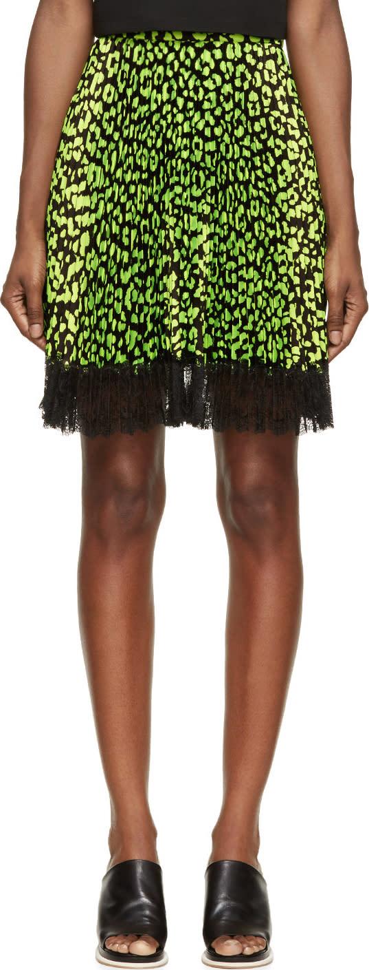 Christopher Kane Green and Black Animal Spot Skirt