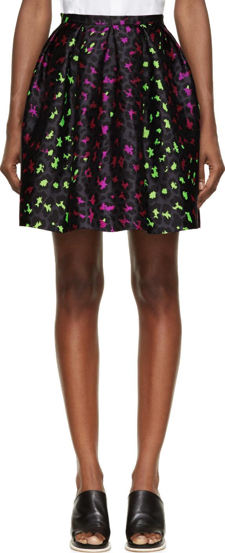 Christopher Kane Pink and Green Silk Leopard Princess Skirt