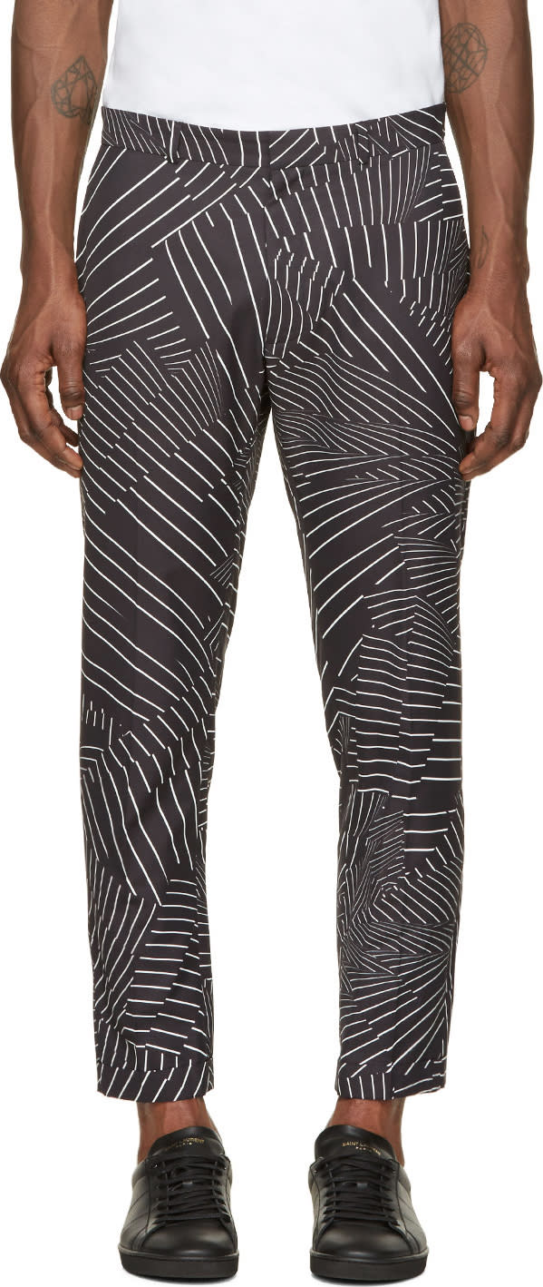 Image of Christopher Kane Black and White Deconstructed Pinstripe Turn Up Trousers