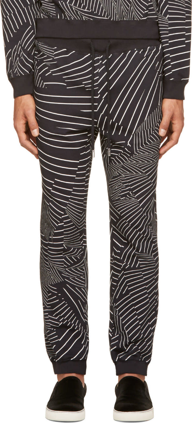 Christopher Kane Black and White Deconstructed Stripe Lounge Pants