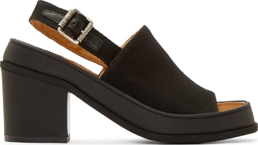 Mm6 Maison Margiela Black Canvas Sling Back Heels