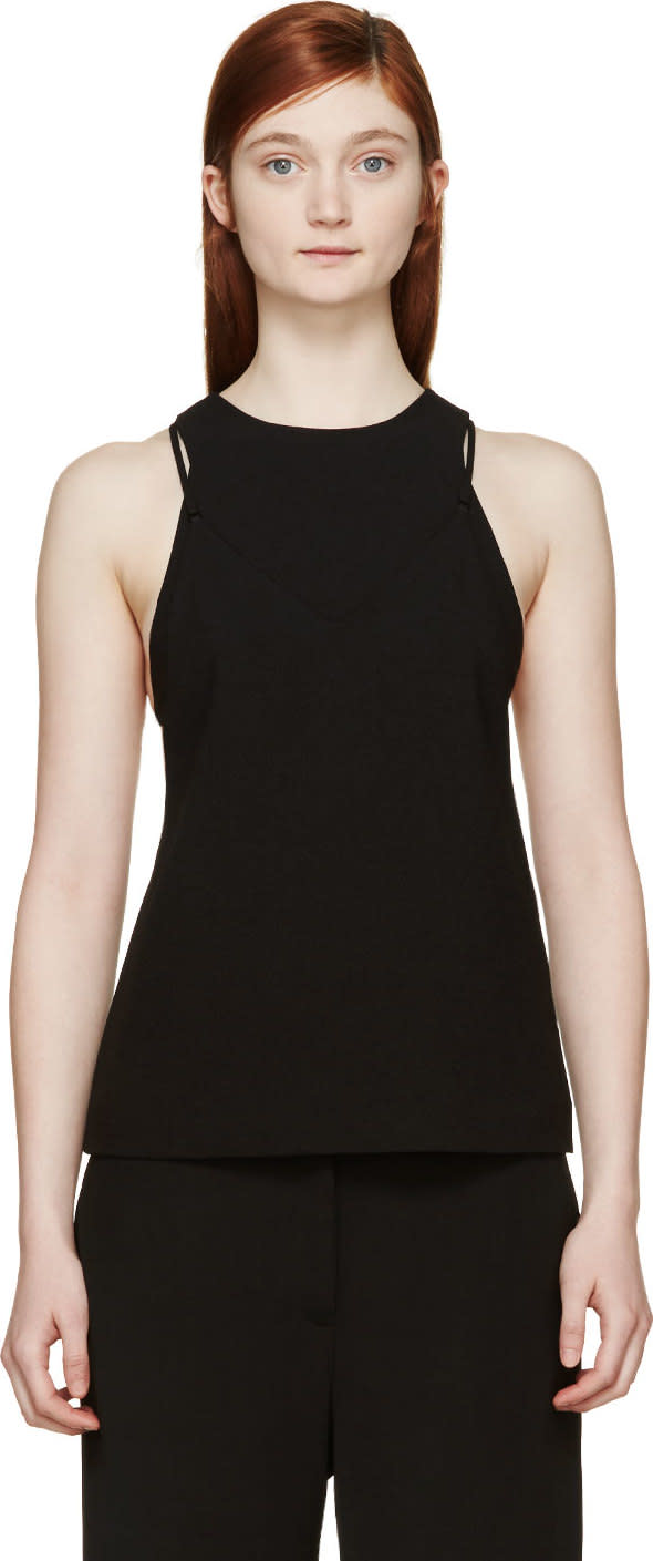 T By Alexander Wang Black Crepe Bralette Insert Camisole