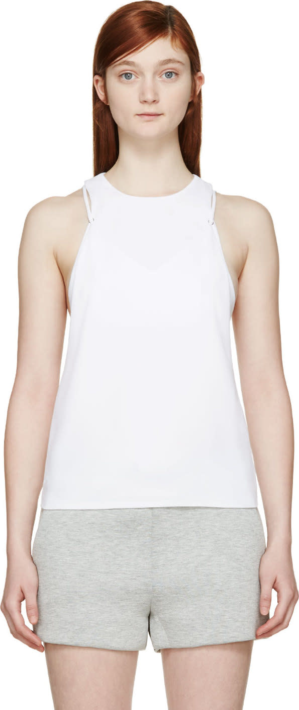 T By Alexander Wang White Crêpe Bralette Insert Camisole